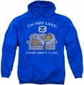 Garfield pull-over hoodie Not Lazy adult royal blue