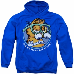 Garfield pull-over hoodie Performing adult royal blue