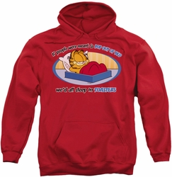 Garfield pull-over hoodie Pop Out Of Bed adult red