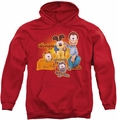 Garfield pull-over hoodie Say Cheese adult red