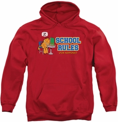 Garfield pull-over hoodie School Rules adult red