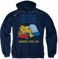 Garfield pull-over hoodie Works For Me adult navy