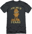 Garfield slim-fit t-shirt Ask Me mens charcoal