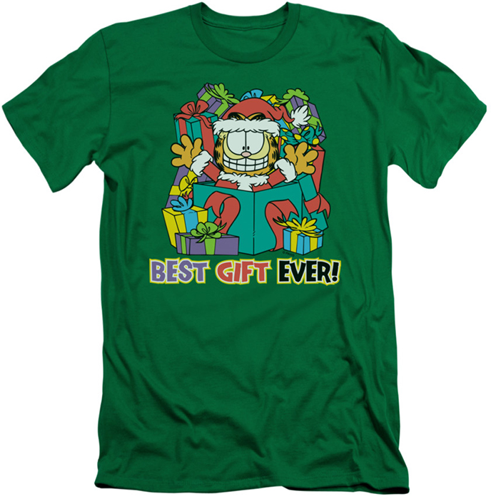 Garfield slim fit t shirt best gift ever mens kelly green for Best slim fit mens t shirts