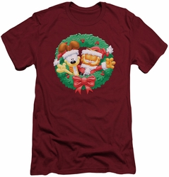 Garfield slim-fit t-shirt Christmas Wreath mens cardinal
