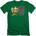 Garfield slim-fit t-shirt I've Been Good mens kelly green
