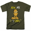 Garfield t-shirt Ask Me If I Care mens military green