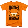 Garfield t-shirt Don't Know Don't Care mens orange