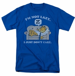 Garfield t-shirt Not Lazy mens royal