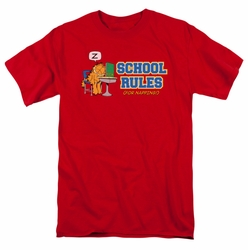 Garfield t-shirt School Rules mens red