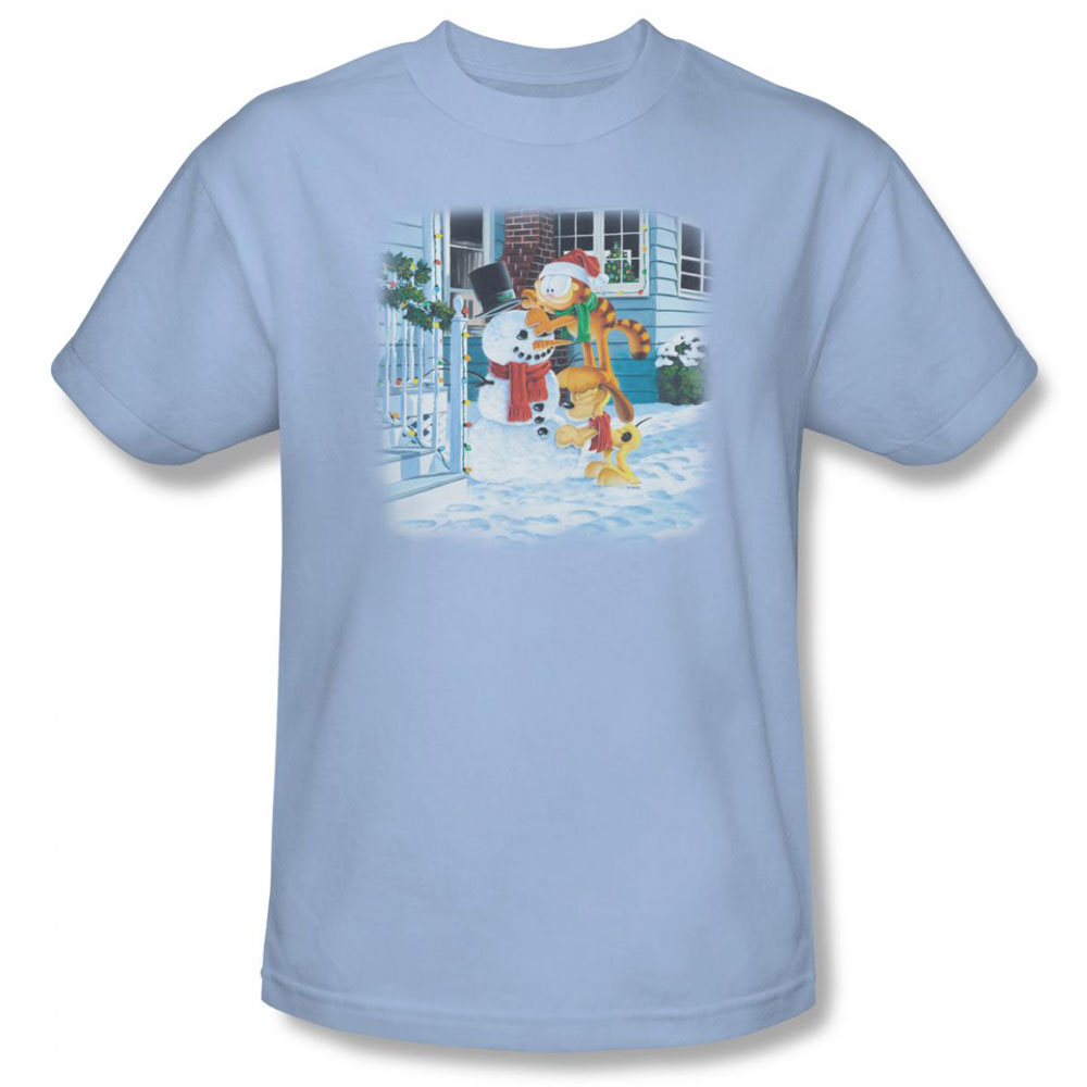Garfield t shirt snow fun mens light blue Light blue t shirt mens