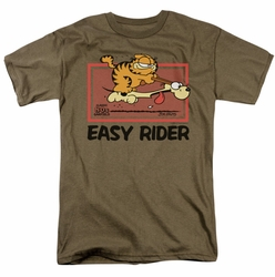 Garfield t-shirt Vintage Easy Rider mens safari green