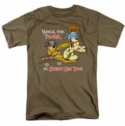 Garfield t-shirt Walk The Plank mens safari green