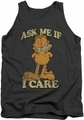 Garfield tank top Ask Me mens charcoal
