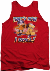 Garfield tank top How I Roll mens red
