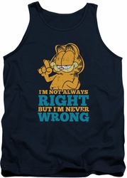 Garfield tank top Never Wrong mens navy