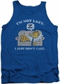 Garfield tank top Not Lazy mens royal