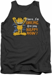 Garfield tank top Smiling mens charcoal