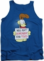 Garfield tank top Will Eat Homework mens royal