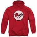 GM Chevy pull-over hoodie 2Nd Gen Vette Logo adult Red