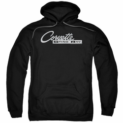 GM Chevy pull-over hoodie Chrome Stingray Logo adult Black