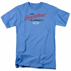 GM  Chevy t-shirt Heartbeat Of America mens Carolina Blue