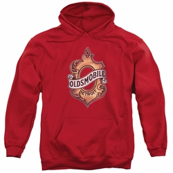 GM Oldsmobile pull-over hoodie Detroit Emblem adult Red