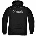 GM Oldsmobile pull-over hoodie Oldsmobile Cursive Logo adult Black