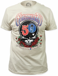 Grateful Dead celebrating 50 years fitted jersey tee mens vintage white pre-order