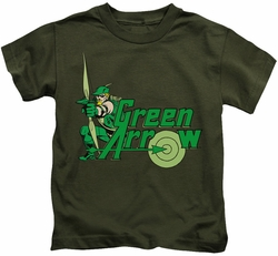 Green Arrow kids t-shirt Character military green