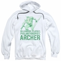 Green Arrow pull-over hoodie Archer adult white