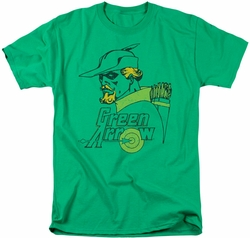 Green Arrow t-shirt Close Up mens kelly green