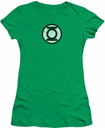 Green Lantern juniors t-shirt Scribble Lantern Logo kelly green
