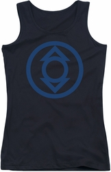 Green Lantern juniors tank top Blue Emblem black