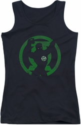 Green Lantern juniors tank top Gl Symbol Knockout black