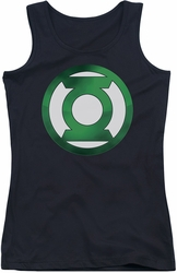 Green Lantern juniors tank top Green Chrome Logo black