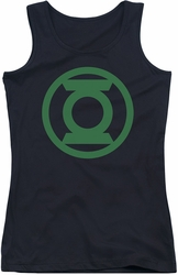 Green Lantern juniors tank top Green Emblem black
