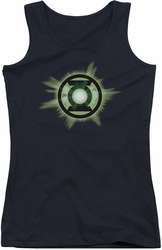 Green Lantern juniors tank top Green Glow black