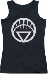 Green Lantern juniors tank top White Emblem black