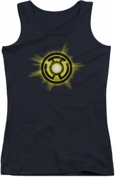Green Lantern juniors tank top Yellow Glow black