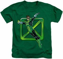 Green Lantern kids t-shirt Green Cross kelly green