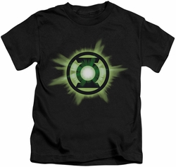 Green Lantern kids t-shirt Green Glow black