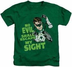 Green Lantern kids t-shirt No Evil kelly green