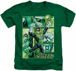 Green Lantern kids t-shirt Panels kelly green