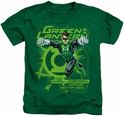 Green Lantern kids t-shirt Sector 2814 kelly green