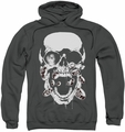 Green Lantern pull-over hoodie Black Lantern Skull adult charcoal