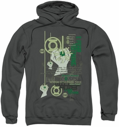 Green Lantern pull-over hoodie Core Strength adult charcoal