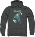 Green Lantern pull-over hoodie Desaturated adult charcoal