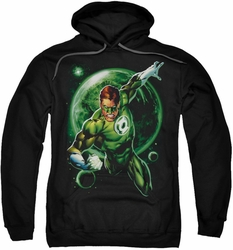 Green Lantern pull-over hoodie Galaxy Glow adult black