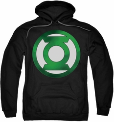 Green Lantern pull-over hoodie Green Chrome Logo adult black